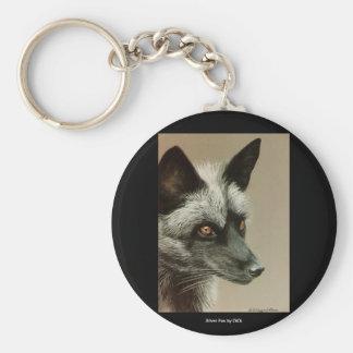 Silver Fox by DiDi Basic Round Button Keychain