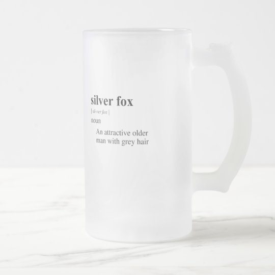 SILVER FOX FROSTED GLASS BEER MUG