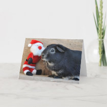 Silver Fox Guinea Pig and Santa Holiday Card