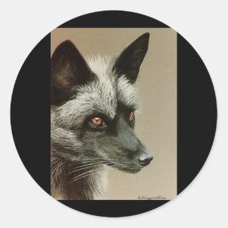Silver Fox Round Stickers