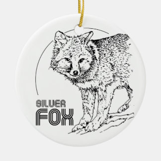 SILVER FOX VINTAGE CERAMIC ORNAMENT