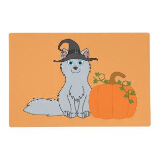 Silver Fox with Halloween Pumpkin Laminated Place Mat