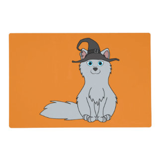 Silver Fox with Halloween Witch Hat Laminated Placemat