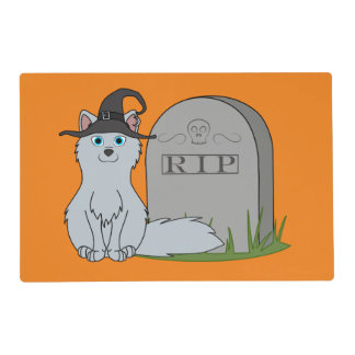 Silver Fox with RIP Grave Stone Laminated Placemat