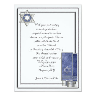 "Silver Frame Bar Mitzvah 4.25"" X 5.5"" Invitation Card"