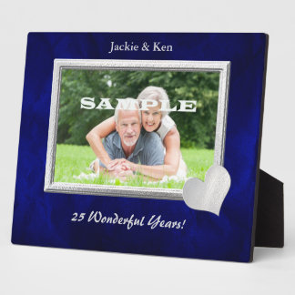 Silver Frame Heart Anniversary Photo Template Display Plaques
