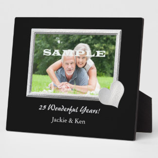 Silver Frame Heart Anniversary Photo Template Display Plaque