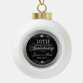 Silver Frame & Hearts 10th Wedding Anniversary Ceramic Ball Christmas Ornament