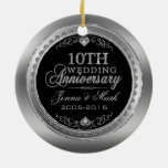 Silver Frame & Hearts 10th Wedding Anniversary Ornaments
