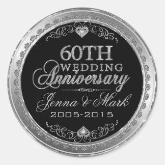 Silver Frame & Hearts 60th Wedding Anniversary Classic Round Sticker