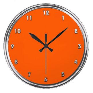 Silver Frame Orange Large Clock
