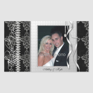 Silver Frame Wedding Photo Thank You Stickers