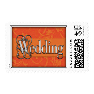 Silver Frame with Wedding Acanthus Damask Postage