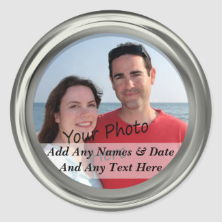 Silver Frame & Your Own Photo Custom Text Stickers
