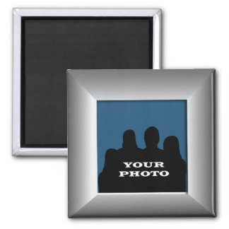 Silver Frame Your Photo Magnet Template