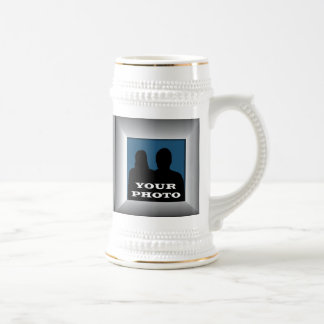 Silver Frame Your Photo Stein Mug Template