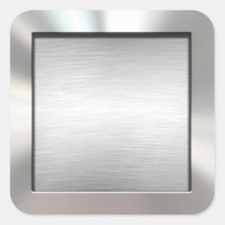 Silver Framed Brushed Metal Stickers