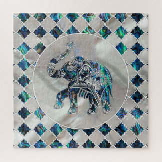Silver Framed Elephant on Abalone and Pearl Jigsaw Puzzle