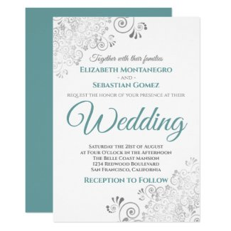 Silver Frills Simple Chic Teal and Gray Wedding Invitation