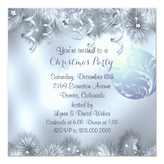 """Silver Frost Decoration Christmas Party 5.25"""" Square Invitation Card"""