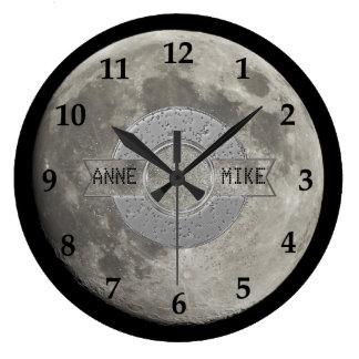 Silver Full Moon Metallic Grunge Crater Black Nos Large Clock