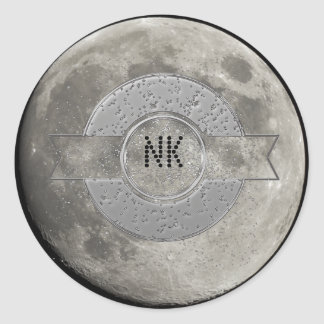 Silver Full Moon with Metallic Grunge Badge Crater Classic Round Sticker