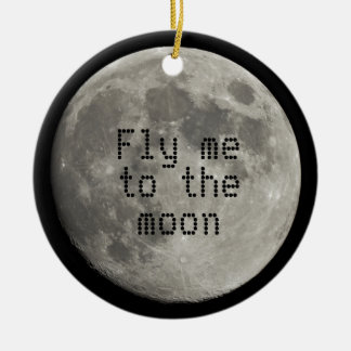 Silver Full Moon with Metallic Grunge Badge Crater Double-Sided Ceramic Round Christmas Ornament