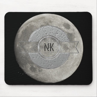Silver Full Moon with Metallic Grunge Badge Crater Mouse Pad