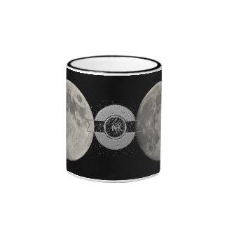 Silver Full Moon with Metallic Grunge Badge Crater Ringer Mug