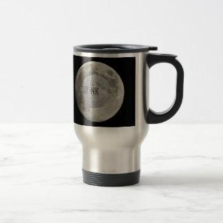 Silver Full Moon with Metallic Grunge Badge Crater Travel Mug