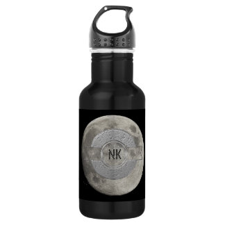 Silver Full Moon with Metallic Grunge Badge Crater Water Bottle