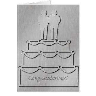 Silver Gay Wedding Cake Card