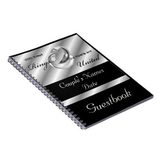 Silver Gay Wedding or Shower Guestbook Notebook