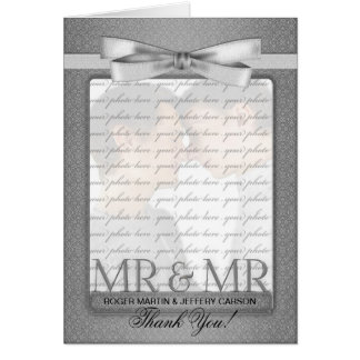 Silver Gay Wedding Thank You from Two Grooms Card
