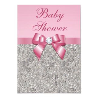 Silver Gems, Bow & Diamonds Girls Pink Baby Shower Card