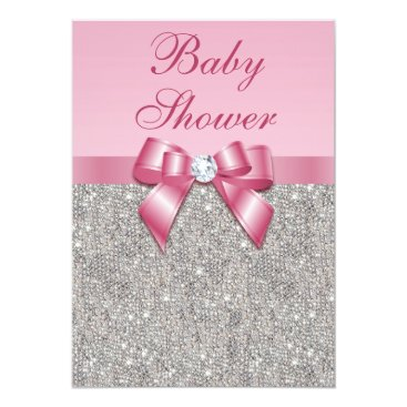 Toddler & Baby themed Silver Gems, Bow & Diamonds Girls Pink Baby Shower Card