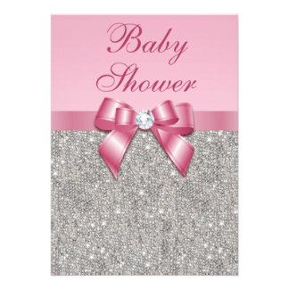 Silver Gems Bow Diamonds Girls Pink Baby Shower Custom Invitation