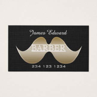 Silver Gentleman Mustache Men Salon Barbershop Business Card