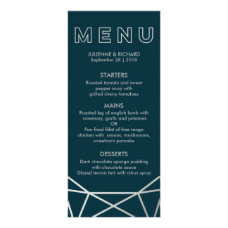 Silver Geometric Diamond Wedding Menu