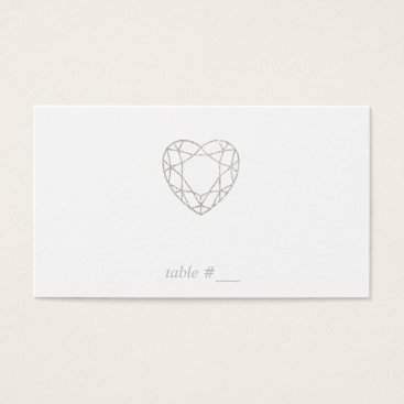 Professional Business Silver geometric heart place cards - flat