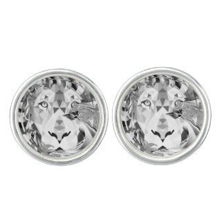 Silver Geometric Lion Cufflinks