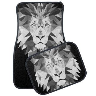 Silver Geometric Lion Head Car Mat