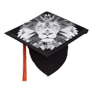 Silver Geometric Lion Head Graduation Cap Topper