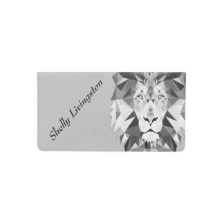 Silver Geometric Lion Head Personalized Checkbook Cover