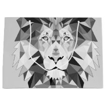 Silver Geometric Lion Large Gift Bag