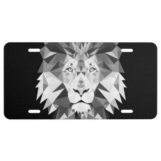Silver Geometric Lion License Plate