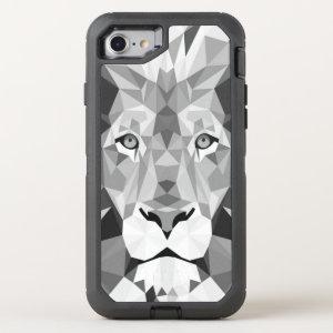 Silver Geometric Lion OtterBox Defender iPhone 7 Case