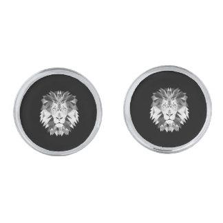 Silver Geometric Lion Silver Cufflinks