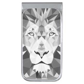 Silver Geometric Lion Silver Finish Money Clip