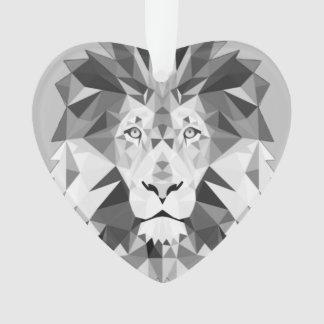 Silver Geometric Lions Head Ornament
